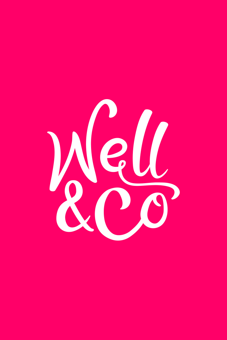 Well Co wordmark on pink