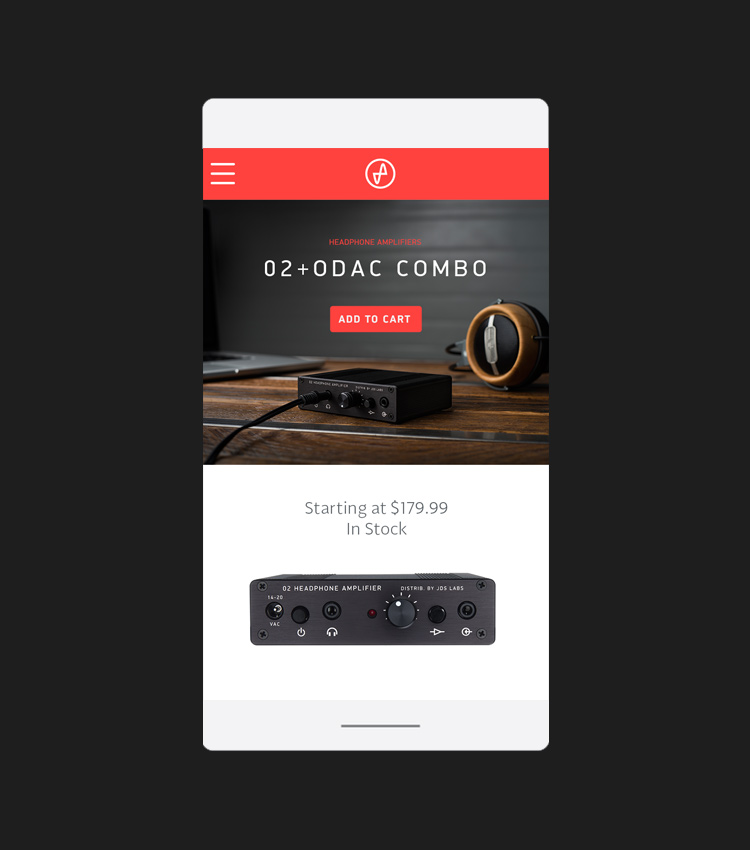 Mobile site - product page