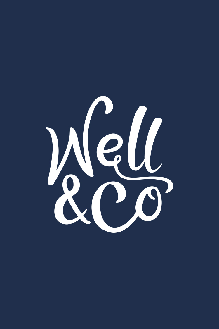 Well Co wordmark on navy